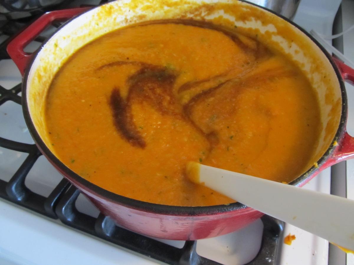 roasted root vegetable soup seasoned with balsamic vinegar