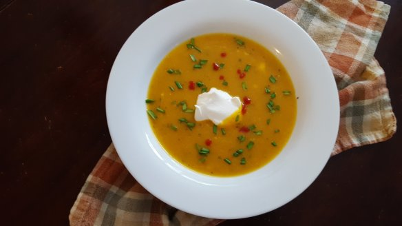 butternut squash soup with Sriracha and chives
