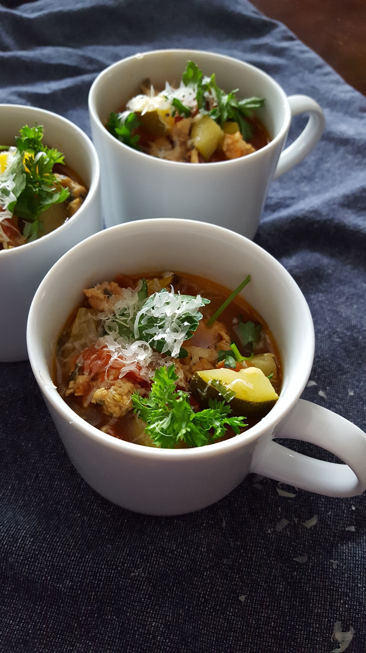 soup with chicken Italian sausage and zucchini
