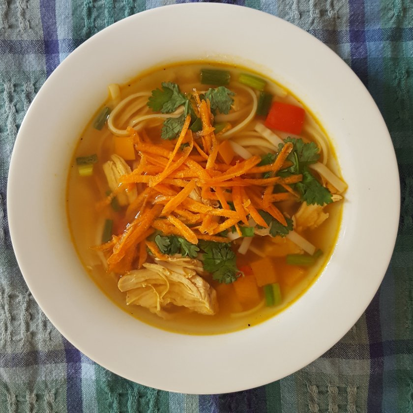 soup with carrots, chicken, noodles and Asian flavors