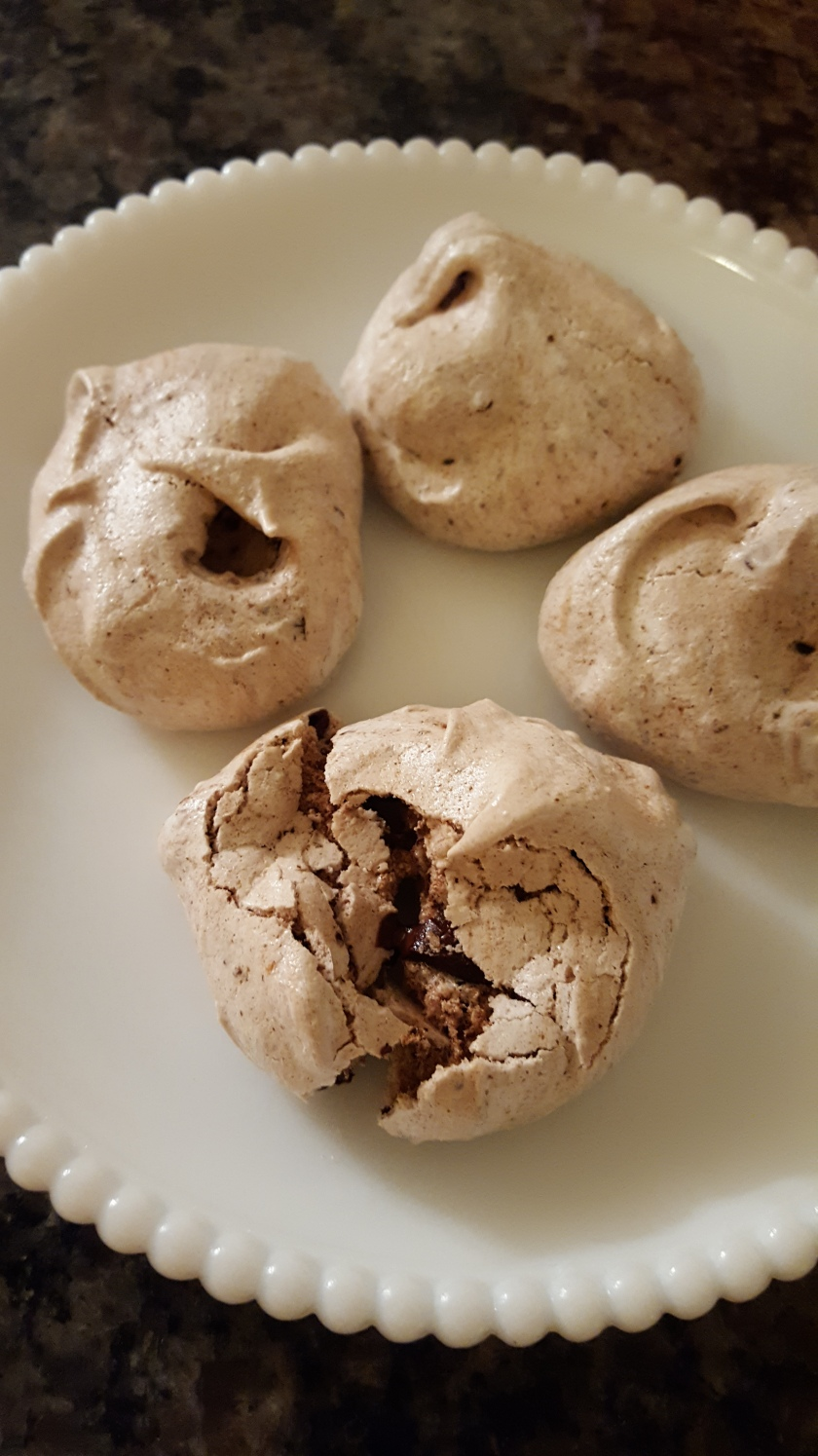 meringues made with chocolate chips and espresso