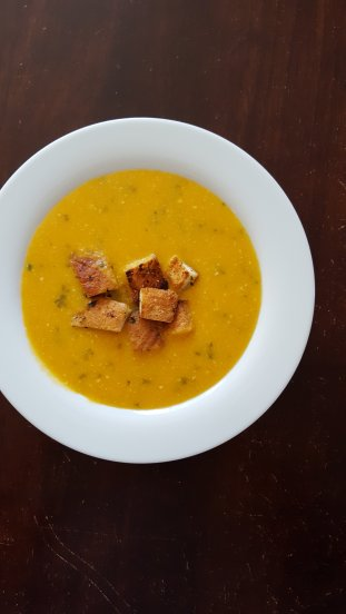 butternut squash soup with ginger, coconut milk and Go chu Jong