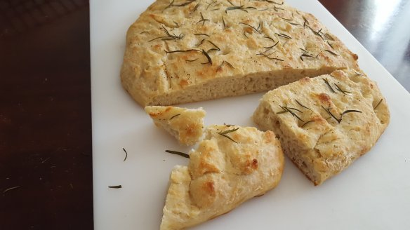 focaccia bread sprinkled with rosemary and sea salt