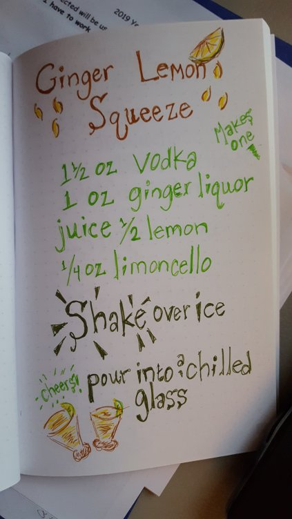 Drawing of Ginger Lemon Squeeze recipe