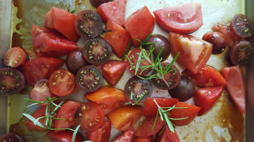 chopped tomatoes and rosemary with olive oil and balsamic vinegar